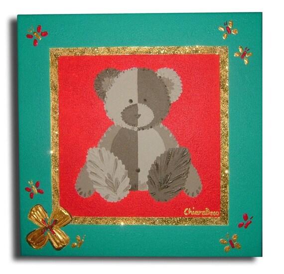 Tableau nounours ourson vert rouge d coration chambre b b for Tableau ourson chambre bebe