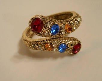Clearance 60% Off A Classy Proprietress - 1940s Gold Tone Clamper Bracelet w/Multi Coloured Cut Glass Gems