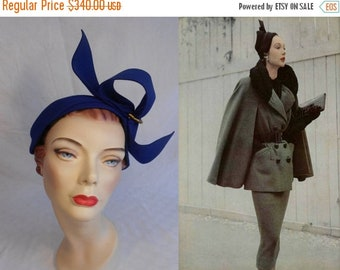 Anniversary Sale 35% Off High Fashion Model - Vintage 1940s 1950s Royal Blue Felt Caplet w/High Side Standing Bow