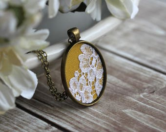Boho Jewelry, Small Fabric Lace Pendant, Oval Necklace, Mustard Yellow, Unique Bridesmaid Gift