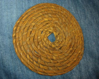 Antique Rye Grass Like Coiled Mat Old Grass Rustic  Primitive Mat Native American Look Coiled Basket Like Mat Primitive Antique Mat 6 in Dia