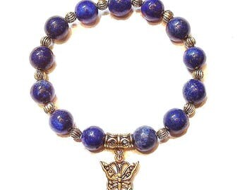 Lapis Lazuli & Antique Gold-Tone Stretch Gemstone Bracelet Approx. 19.5cm