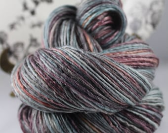 Handspun Yarn Gently Thick and Thin DK Single Merino and Tencel 'Space Voyage'