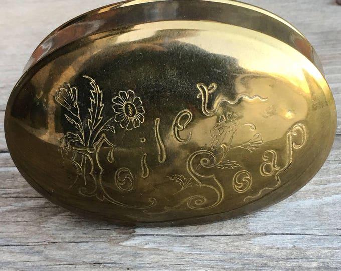 Soap Tin Brass Traveling Soap Box Storage Art Nouveau Vanity Boudoir Bathroom