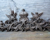 """Wood applique 15"""" Cherubs Crown pediment architectural salvage Victorian French Country ornamental furniture wall embellishment Supplies"""