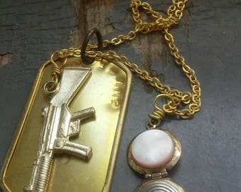 Flintlock stack - custom stamped bronze dogtag, miniature gun, vintage shell &  metalwork locket