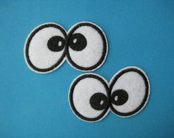 SALE~ 2 pcs Iron-on Embroidered applique Cartoon Eyes 2.25 inch