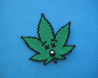 Iron-on Embroidered Patch Weed 2 inch