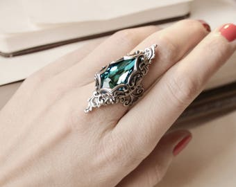 Aged Silver Swarovski Ring - Cocktail - Blue - Victorian - Fantasy - Mermaid - Bridal - Winter Wedding - Fashion - February - Valentines Day