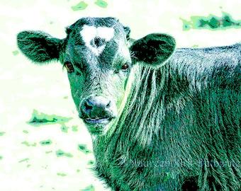 Baby nursery, Farm nursery print, nursery decor, farmhouse decor, nursery art, Cow art, country decor, baby boy, green cow, teal wall art