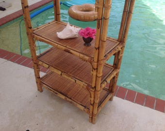 "BAMBOO RATTAN ETAGERE / Vintage Bamboo Rattan Etagere Fretwork 72"" x 30"" x 15.5""/ Palm Beach Island Style / Bamboo Etagere Retro Daisy Girl"