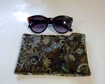 Brown Leaves Batik Sunglasses Case