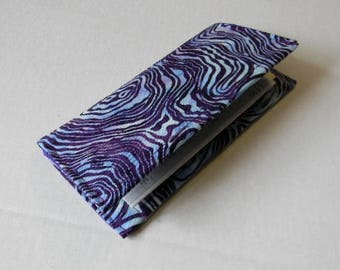 Purple/Blue Swirl Batik Checkbook Cover