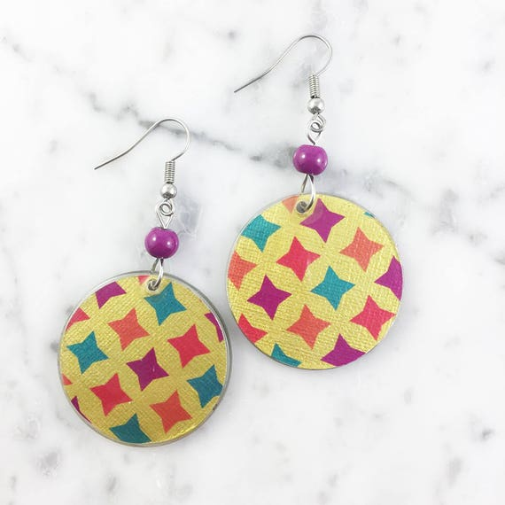 Resin earrings, geometric, pattern, yellow, turquoise, orange, handmade, sold, earring, hypoallergenic hook
