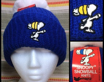 1980's deadstock knit stocking cap hat by Snoopy Snowball Knits huge 5 inch pompom blue embroidered NOS NWT the Peanuts