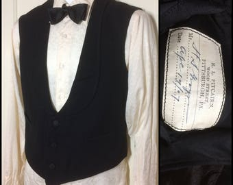 Antique 1900's dated 1907 formal black tuxedo waistcoat vest with lapel look size small fine wool satin back Edwardian Victorian by Pitcairn