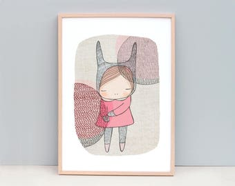 Children Kids Art, Nursery Poster, Animal Wall Art Girl, Bunny Art Print, Girls Nursery Art, Pink, Bunny Art Pink, Rabbit Art