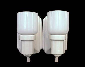 Vintage Light Fixtures  (c. 1930s)  White Porcelain and Milk Glass Lights  /  Electric Wall Lighting  / Vintage Home Restoration Lighting
