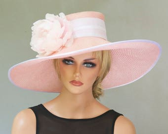 Derby Hat, Wedding Hat, Wide Brim Hat, Women's Pink Straw Hat, Formal hat, Dressy Hat, Race Hat, Ascot Hat, Garden Party Hat, Tea Hat
