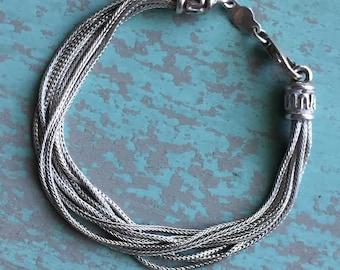 Vintage Sterling Silver Multi Strand Bracelet