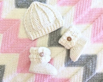 Chevron Baby Blanket, Booties and Hat Gift Set in  Pink and Grey