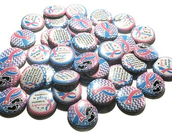 """Pregnancy and Infant Loss Awareness, 1"""" Button, Pregnancy Loss, Miscarriage, Infant Loss, Sillbirth, Pink and Blue Ribbon, PAIL, Awareness"""