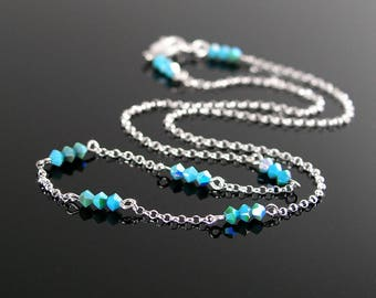 Dainty Turquoise Crystal Choker Necklace, Sterling Silver Necklace Turquoise Blue Swarovski Crystal, Turquoise Choker, Simple Jewelry