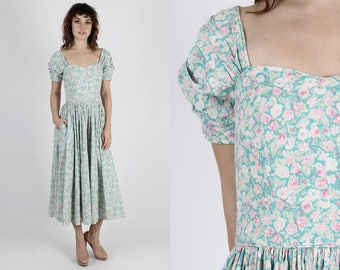 Laura Ashley Dress Party Dress Floral Dress 80s Dress Vintage Dress Pastel Floral Boho Hippie Full Skirt Party Long Maxi Dress US Size 10