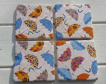 Umbrella Stone Coaster Set of 4 Tea Coffee Beer Coasters