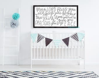 May the Lord Bless You and Keep You Sign, Nursery Sign, Numbers 6:24-26, Scripture Verse,  Wood Sign, Rustic Farmhouse, over the crib, Frame