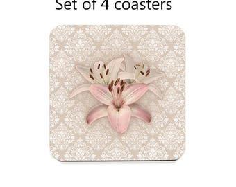 Floral Coaster Set, damask drink coasters, set of 4, rose quartz pink coasters, housewarming gift, cork back coasters, hostess gift