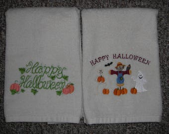 set of two embroidered happy halloween ivory bath towels holiday decor halloween decor - Halloween Bath Towels