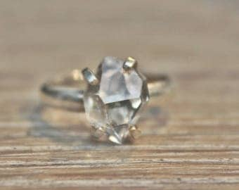 Large Herkimer Diamond, Herkimer Ring, Wedding Ring, Herkimer Diamond, Wedding Band, Band Ring, Silver Ring, Silver Diamond Ring