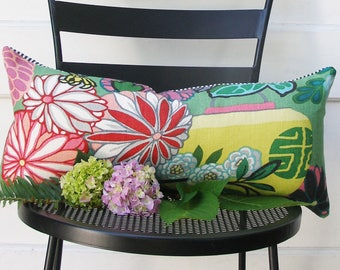 Schumacher Pillow Cover - Lumbar - 11x21 -  SPECIAL - Pillow Covers - Chiang Mia Dragon - Jade - ready to ship