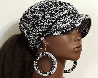 Black and White  PonyTail Crochet Baseball Cap with Hoop Earrings  by Razonda Lee Razondalee