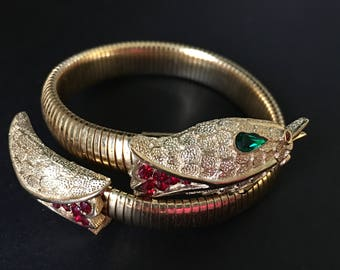 Crown Trifari Snake Bracelet, Vintage Jewelry, Green & Red Rhinestone Serpent Wrap Bracelet, Vintage Egyptian Revival Bypass Bracelet