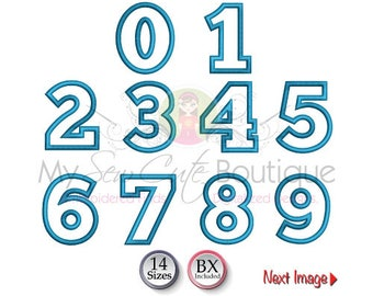 Applique Numbers Embroidery Designs Birthday Machine Patterns - Number Applique Design - 14 Sizes - Instant Download