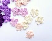 Crochet flower applique - set of 48