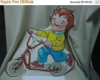 Ephemera & Books 50% Sale Vintage Young Boy Riding Scooter Cardboard Cut Out, collectable, USA