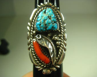 Vintage Southwestern Sterling Silver Ring Turquoise Coral Size 9.75