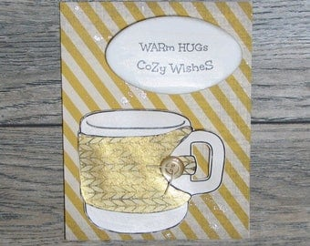Warm Hugs, Cozy Wishes Distressed Gold handcrafted card-CB123117-27