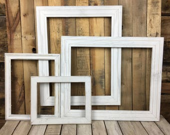 ON SALE -  White Picture Frame Set of 4, Rustic Hand Painted Set, 9x12, 11x14, 2- 16x20  Photo Frame, Gallery Wall Frame Set, Lot 38