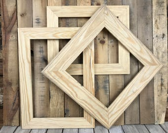 ON SALE - Unpainted Picture Frame Set of 3, Rustic Set, 11x14, 13x13, 12x18 Photo Frame, Gallery Frame Set, Lot 252