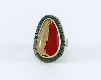 Size 6 1/2 Ring Red Jasper and Handcrafted Sterling Silver Natural Stone Contemporary One of a Kind Artisan Jewelry Design 4859824310417