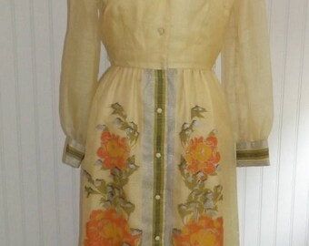 Clear Out Sale 1960s Hostess Dress, Floor Length, Shaheen, Made In Hawaii, Size Medium,  #42779