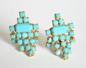 Vintage turquoise rhinestone earrings.  Clip on earrings.  Vintage jewellery