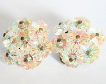 Vintage earrings.  Crystal flower earrings.  Clip on earrings.  Vintage jewellery