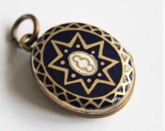 Victorian locket. Blue enamel locket. Brass locket. Antique jewellery