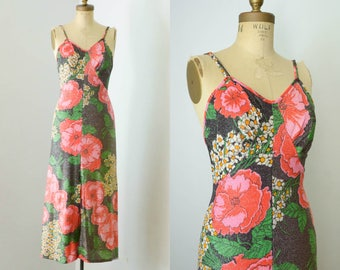 Vintage 1970s Dress Floral Lurex Dress