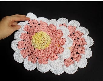 SALE Flower Dish Cloth Wash Cloth Doily, Huge Crochet Pink Flower Knitted Cotton Dish Cloth Set of Two